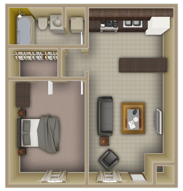 Tallahassee Apartments 1 Bedroom Floorplans